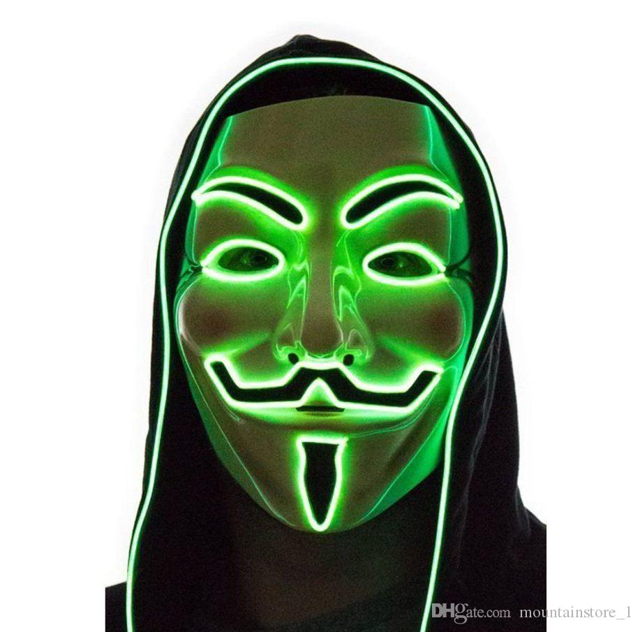 Hot Light Up LED Mask V for Vendetta Anonymous Guy Fawkes Costume Cosplay Cool Free Shipping