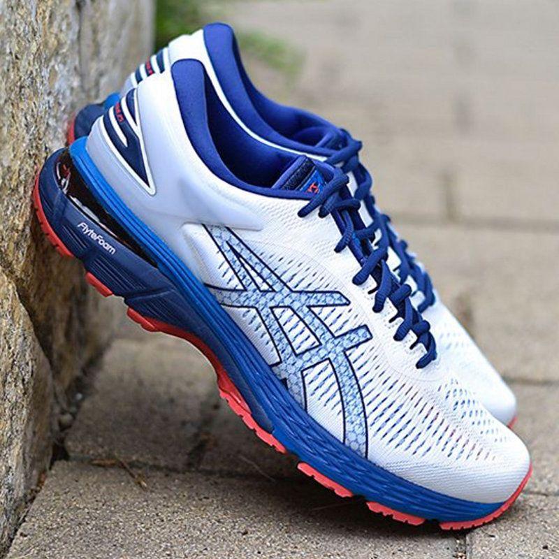 2019 2019 New ASICS GEL KAYANO 25 Mens Outdoor Jogging Sneakers Asics White Dark Blue Red Original Designer Running Shoes US 7.5 11 From Wegosport,