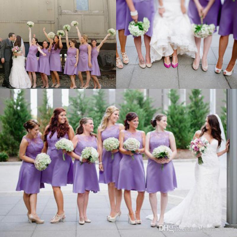 Compre Lila Light Purple Lace Short Elegante Maid Of The Honor Vestido De Fiesta Para El Jardín Cuello Redondo Longitud De La Rodilla Más El Tamaño De