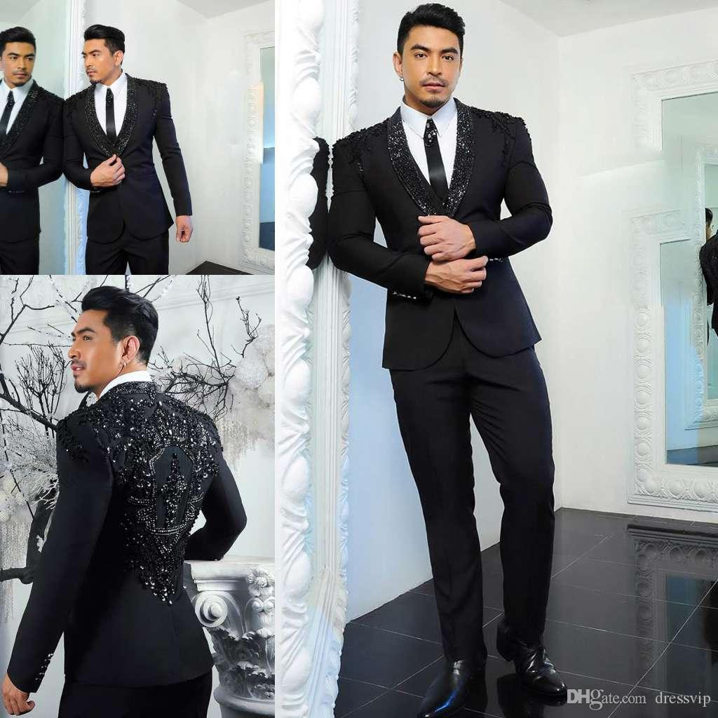 Black Men Suits With Beaded Two Pieces Shawl Lapel Designer Long Sleeve Wedding Tuxedos Mens Jacket and Pants Top Quality