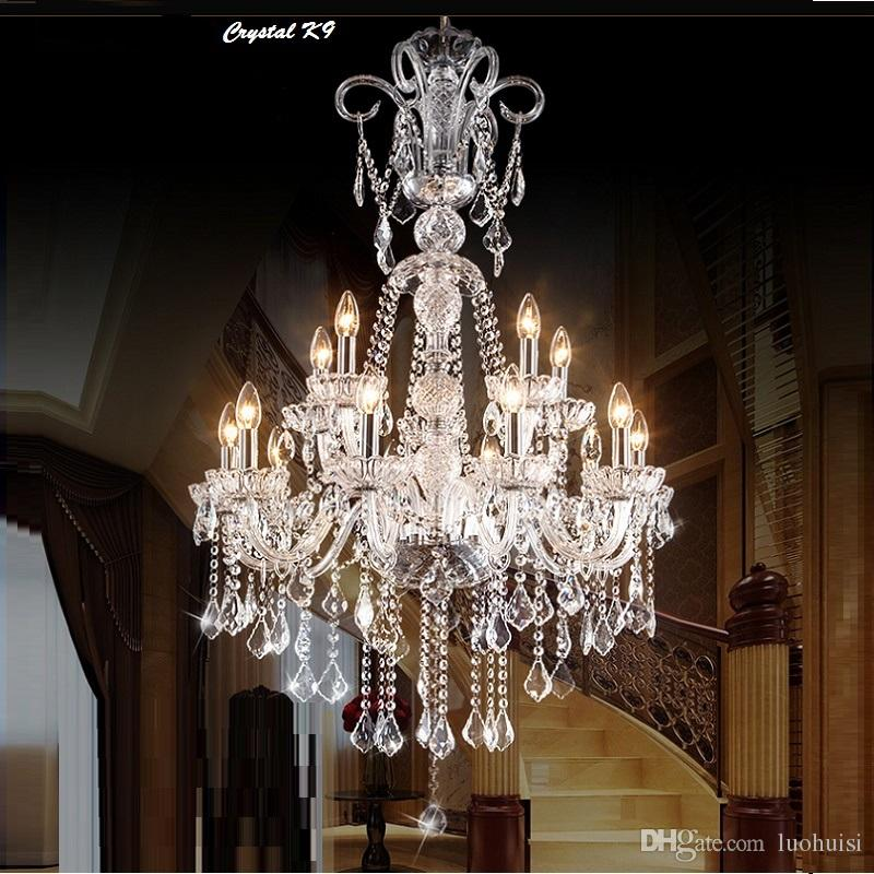Long Stair pendant Chandelier Crystal Large Foyer Light Modern Fashion Living Room Dining Hall Complex Staircase Lighting pendant chandelier