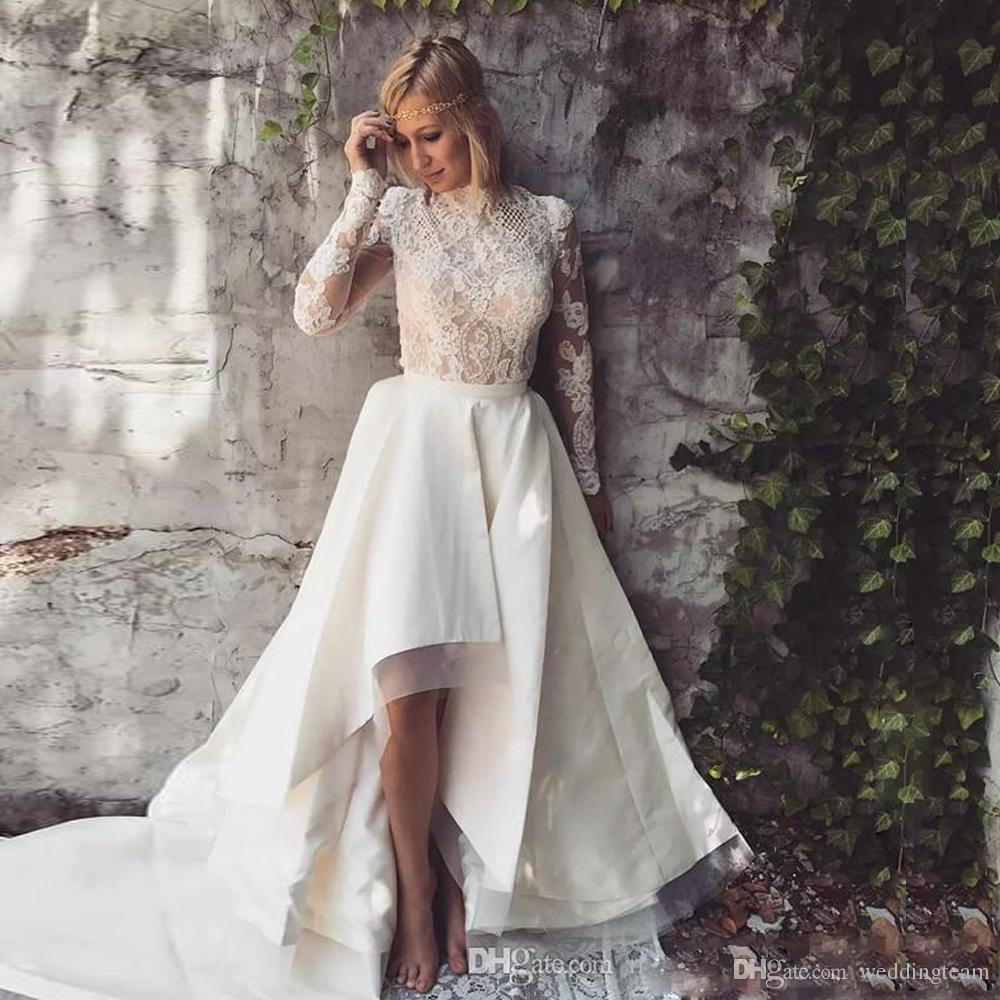 Beach Asymmetrical Hem Wedding Dresses High Neck Long Sleeve Country Bridal Gowns Lace Appliques Satin Vestido De Novia