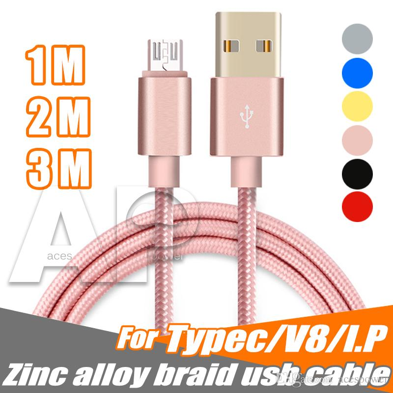2.1A المعادن جديلة نوع C USB للحصول على ملاحظة 10 مايكرو USB كيبل شاحن الرصاص للحصول على الروبوت 1M 3FT 2M و 6ft 3M 10FT