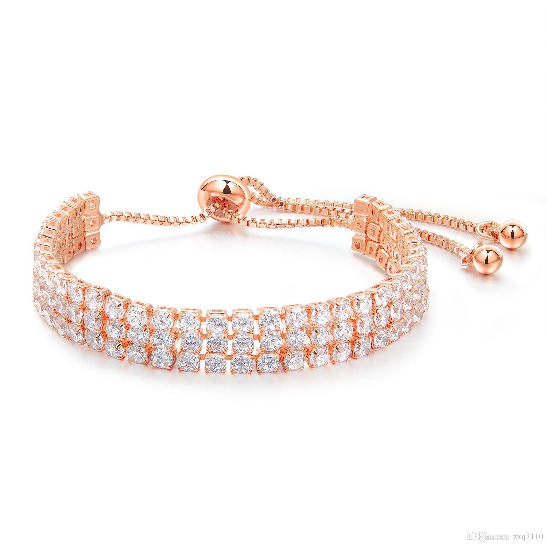 Europa Americana new arrival moda jóias mulheres três diamantes banhado a ouro pulseira de cobre noiva festival de casamento presente do amor