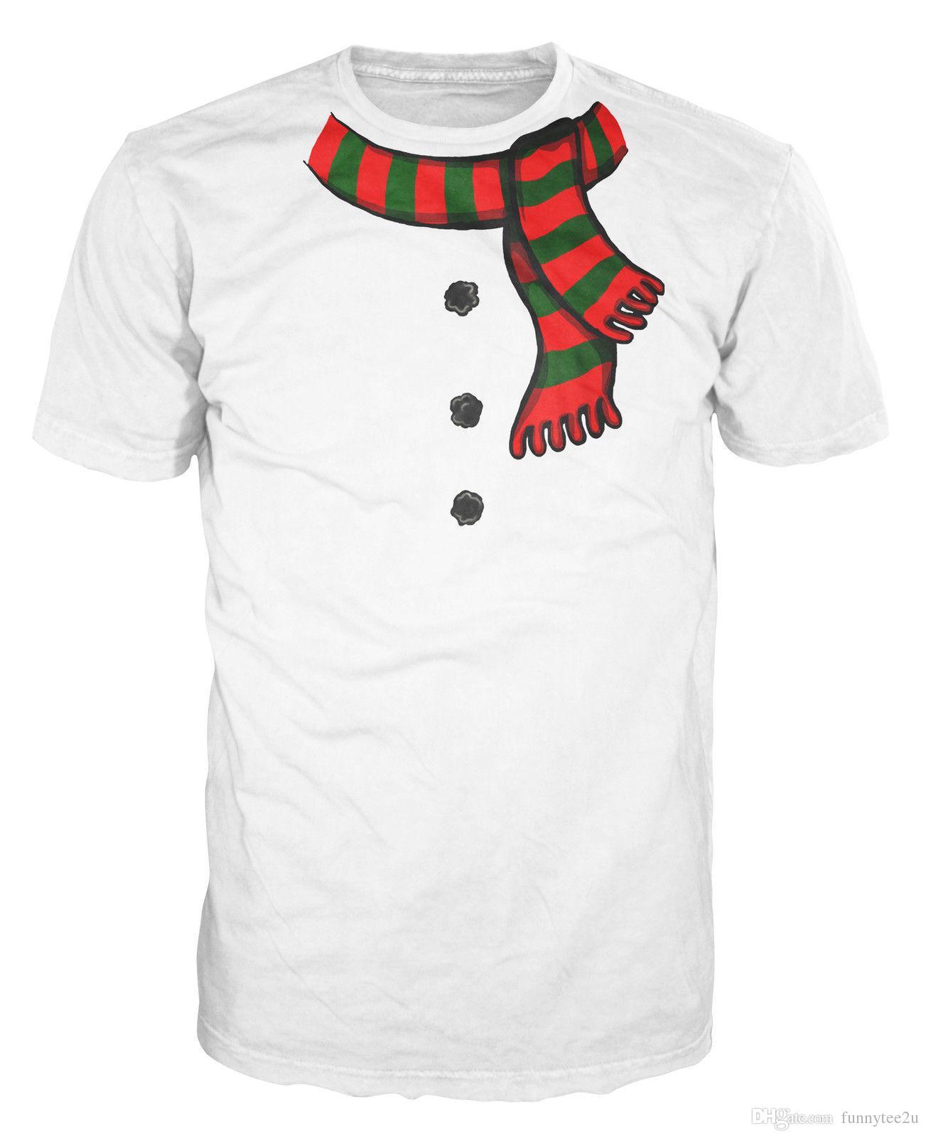 8898341538fb Snowman Costume Funny Christmas Fancy Dress Xmas Fake Scarf Buttons T-Shirt  Tee Shirt Men Popular Custom Short Sleeve Boyfriend's XXXL Party