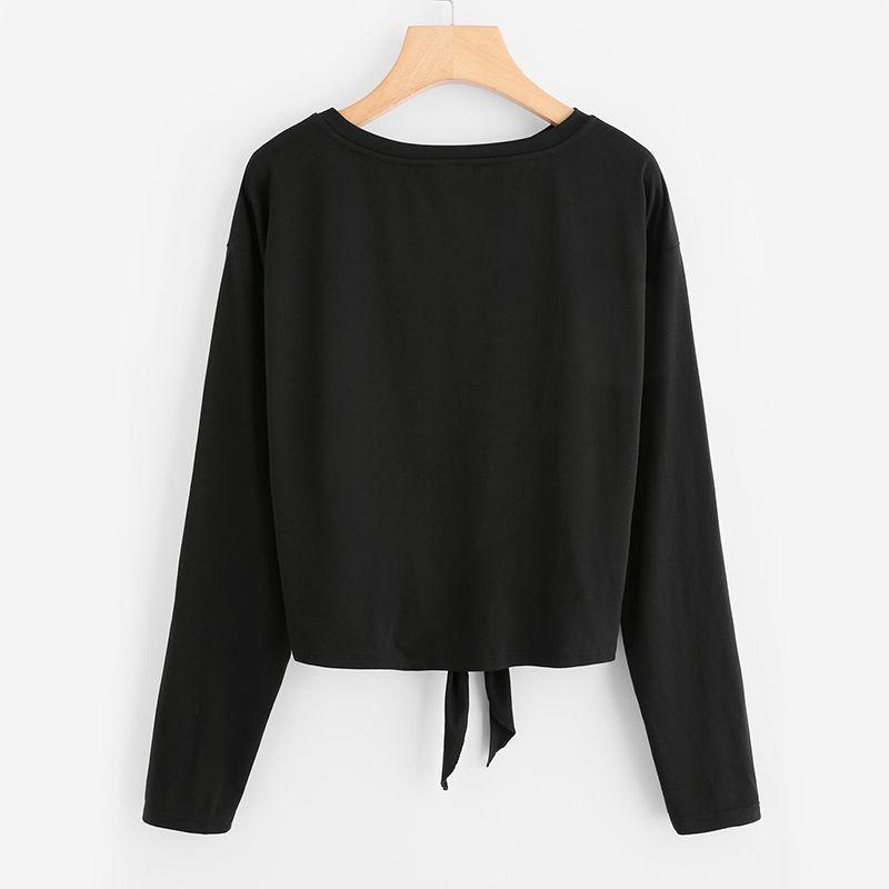 Yeni Inci Boncuklu Düğüm Ön Sevimli Tee Gömlek Siyah Kadınlar Için rahat T Gömlek Uzun Kollu Yuvarlak Boyun Kadın Güzel T-Gömlekler