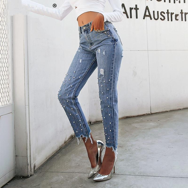 Simplee Inci Püsküller Mavi Yüksek Bel Kot Kadın Streetwear Cep Rahat Kot Sıcak Satış Yaz Denim Pantolon Kadın Alt