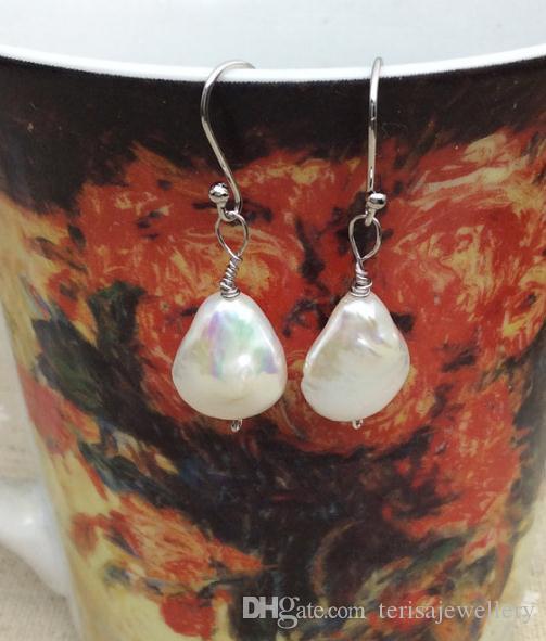 Nowy arrivere Pearl kolczyki, biała kroplówka z pereł słodkowodnych 925 Silver Dangle Kolczyk, Nowa Darmowa Wysyłka