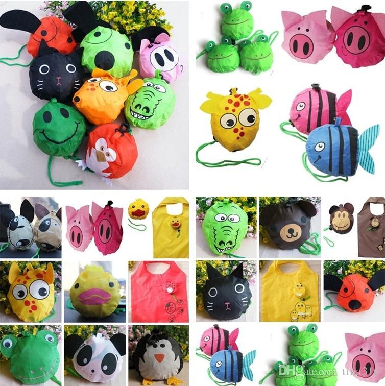 16 estilos Novos Sacos de pregas úteis fofos Animal Bee Panda Cão Coelho Coelho Eco Reutilizável Sacos De Armazenamento I179