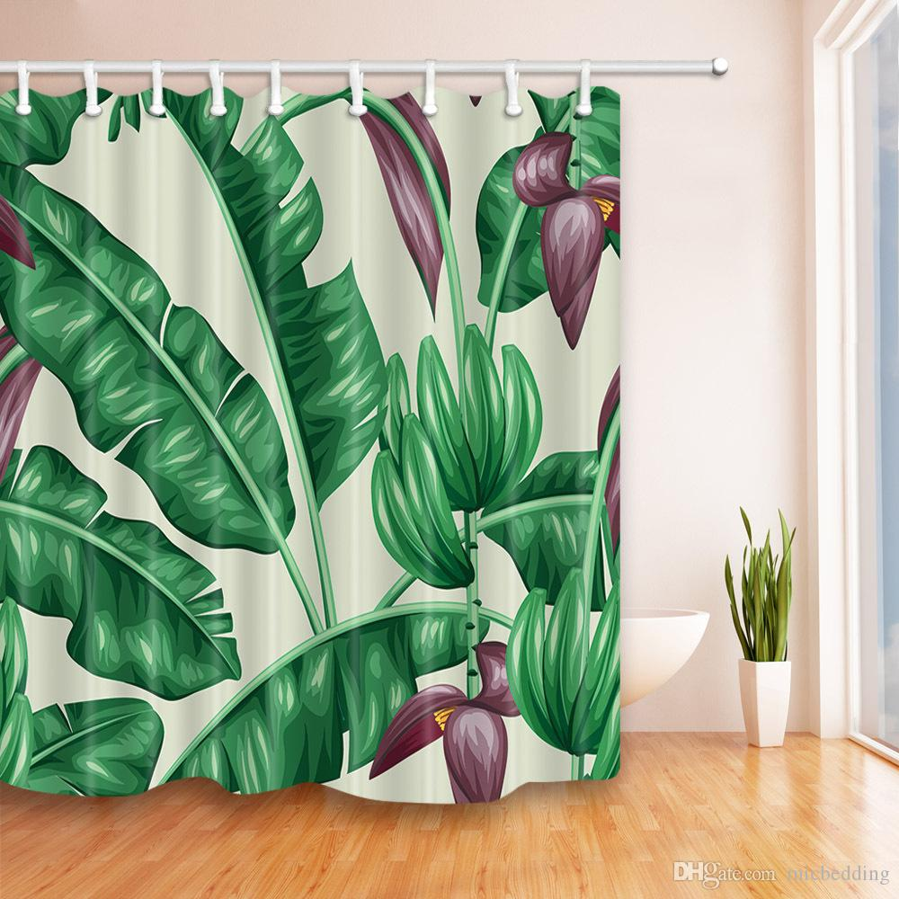 crystal door curtain Banana leaf cactus design pattern waterproof creative shower curtain Digital printing duck flower tiger pictures