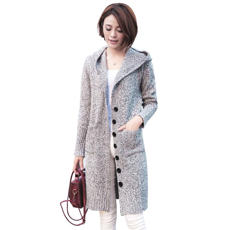 Femmes Cardigan Vestes D'hiver Simple Poitrine Long Cardigan Chandails Lâche Pull Tricoté Manteau Casual Tricots