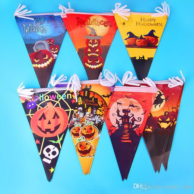 Yeni Cadılar Bayramı Partisi Kabak Iskelet Ölüm Bayrakları Bar Kulübü Cadılar Bayramı Kağıt Flama Süslemeleri Cadılar Bayramı Parti Süslemeleri