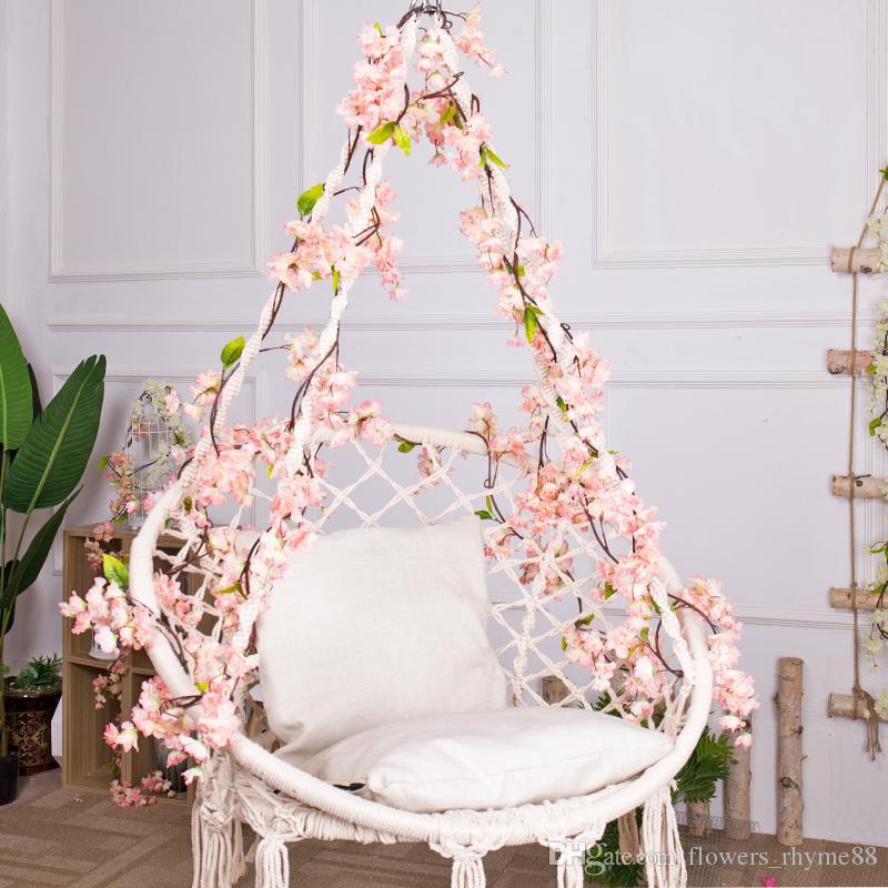 Falso Sakura Cereja Rattan Casamento decoração Do Arco Wisteria Videira flor Artificial videira Decoração de festa em casa de Seda Ivy de parede Guirlanda de suspensão Guirlanda