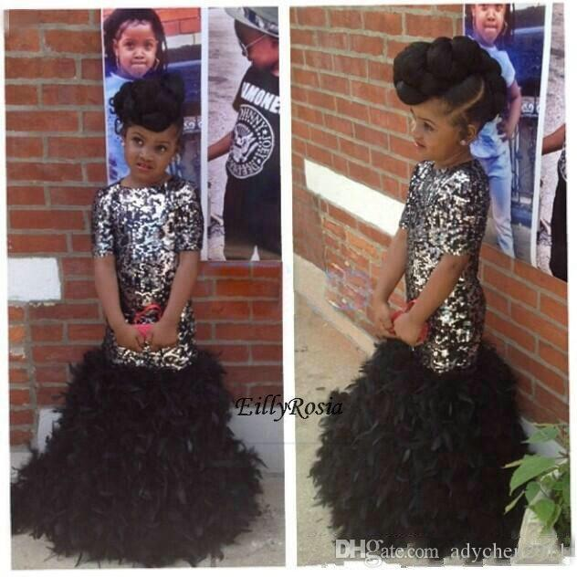 2018 Black Girls Pageant Dresses Feathers Mermaid Short Sleeves Sparkly Sequined Floor Length Kids Evening Gowns Dinner Dress Custom Made