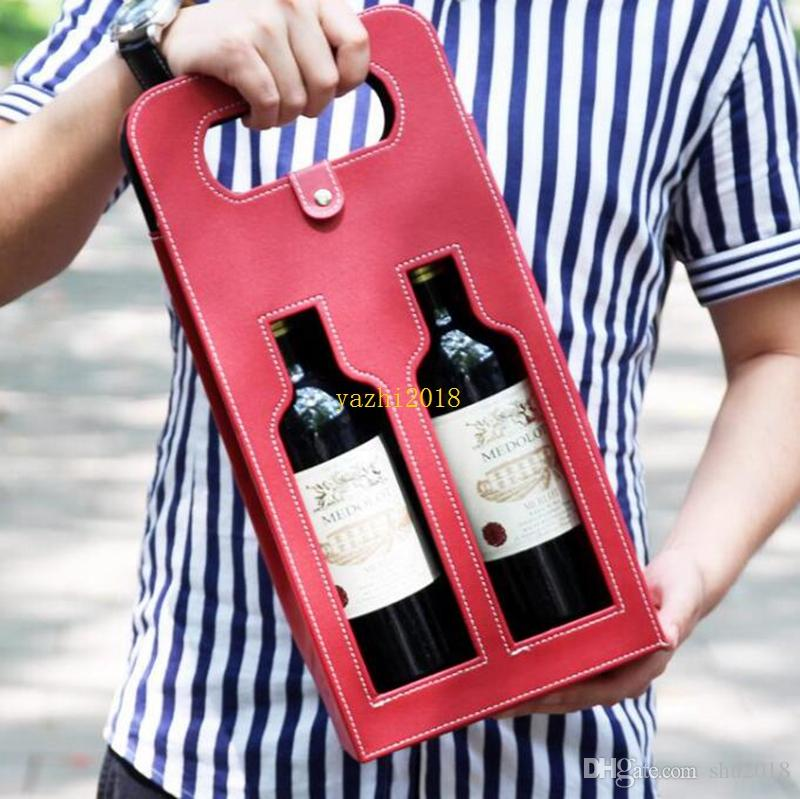 Luxury Portable PU Leather Double Hollow-out Red Wine Bottle Tote Bag Packaging Case Gift Storage Boxes With Handle