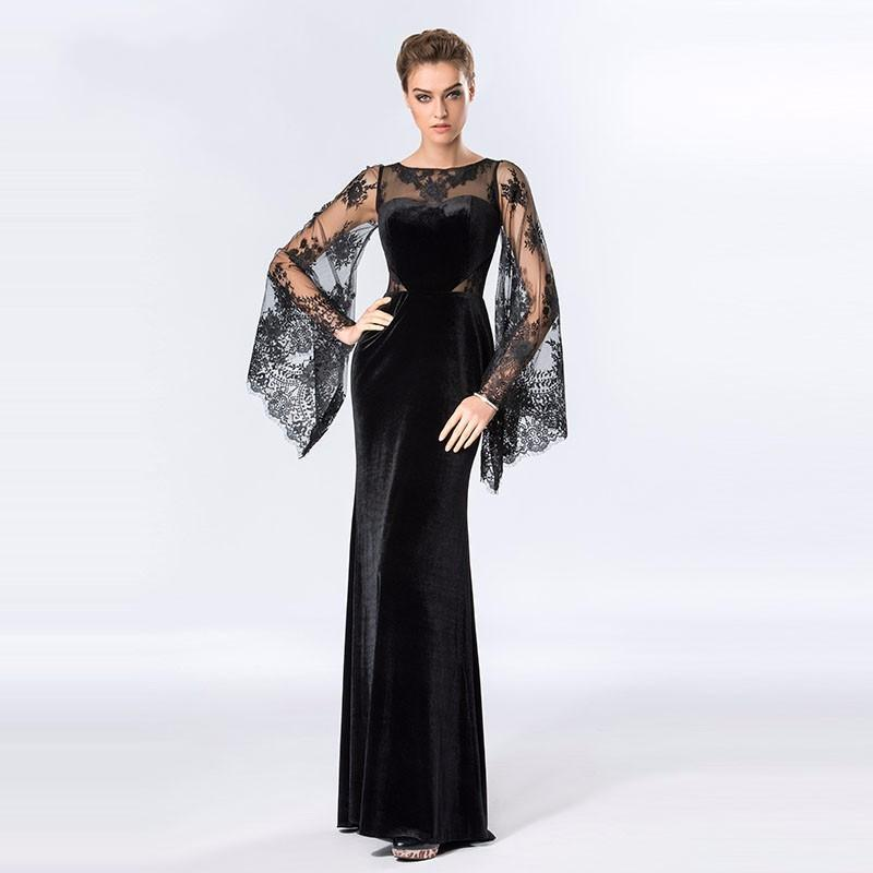 Vintage Lace Muslim Evening Dresses Sheath O-neck Long Sleeves Formal party dresses black sexy long evening dress