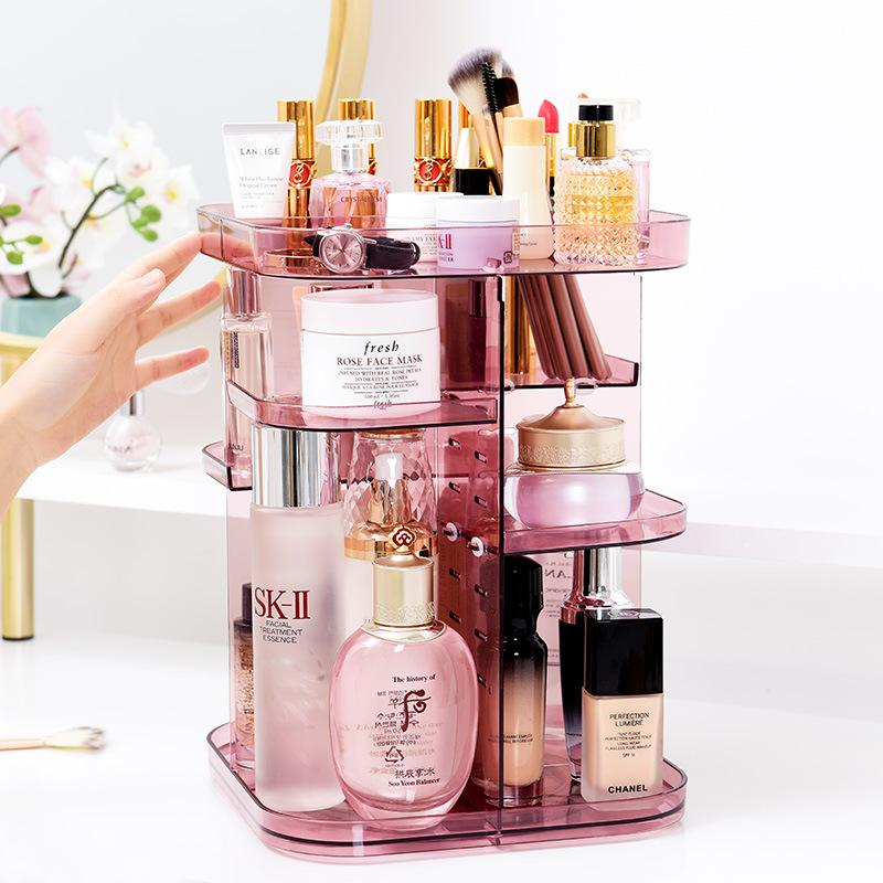 DIY Large Desktop 360-degree Rotating Transparent Acrylic Makeup Organizer Removable Saves Space Cosmetics Jewelry Storage Box