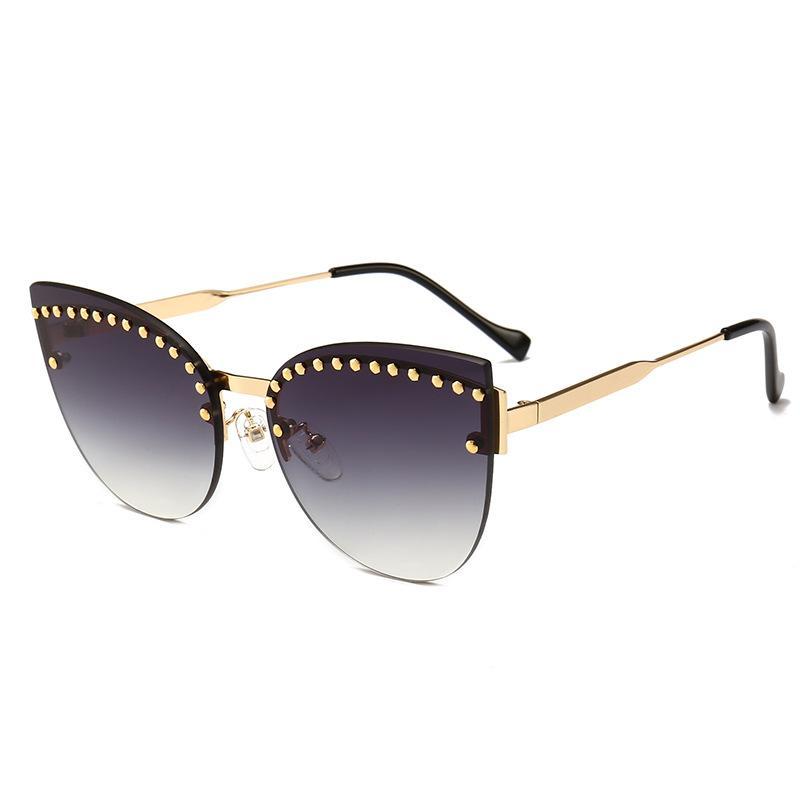 Rivet Cat Lunettes De Soleil Femmes 2018 Nouvelle Marque Sans Lunettes De Soleil Lunettes Femmes Haute Qualité En Métal Cadre Punk lunettes de soleil UV400 FML