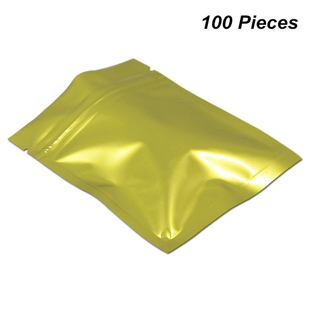 Pomnożyć rozmiary 100 szt. Złoto Mylar Rodzaj folii Baggies z zamkiem błyskawicznym Torby spożywcze Folia aluminiowa Zipper Blokada Torby do pakowania do próbki