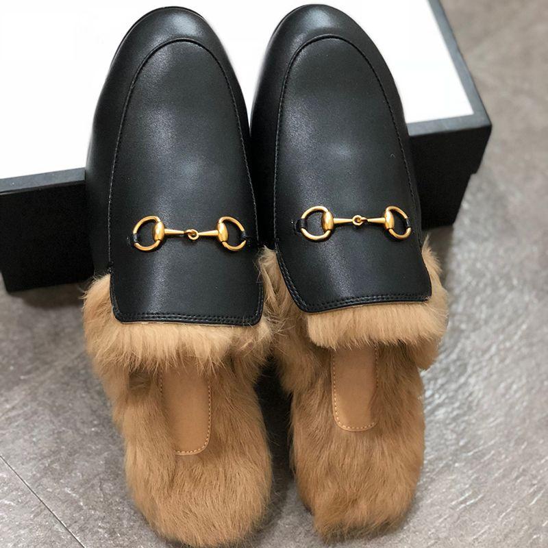 Moda Erkekler Terlik Deri Kürk Terlik Kadınlar Gerçek Deri Düz Katır Ayakkabı Metal Zinciri Günlük Ayakkabılar loafer'lar Açık Terlik W1
