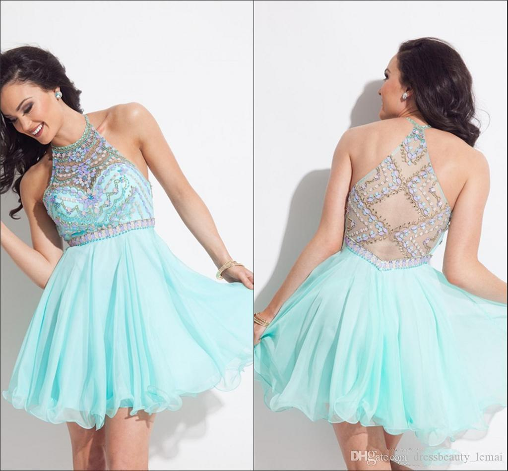 Free Shipping Mint Green Halter Rhinestone Homecoming Dresses Short Mini Party Gowns Prom Dresses Cocktail Dress 8th Grade Graduation Dress