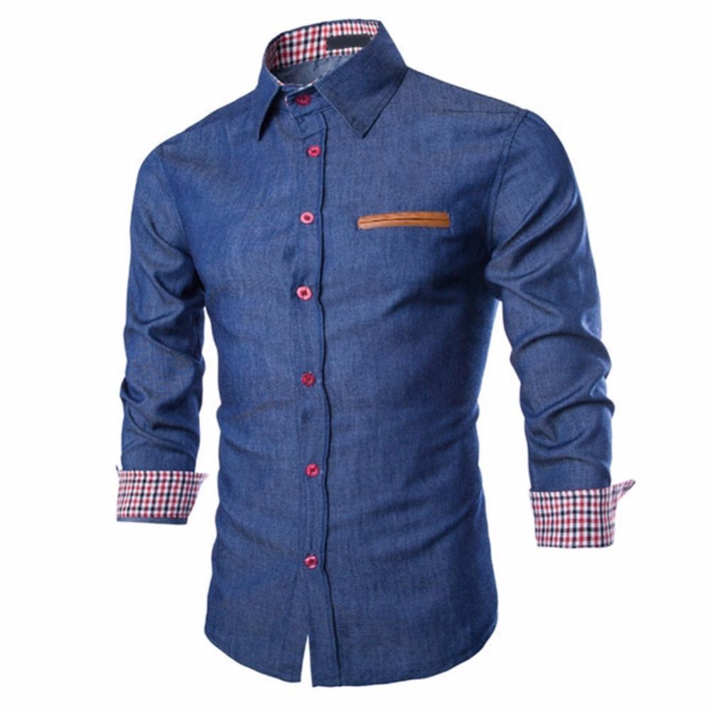 Camisa de mezclilla de negocios táctico hombres jeans casuales camisa camisa camisa social masculina delgado ajuste blusa otoño manga larga blusas
