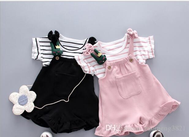 Maniche increspate da bambina e bambino medio piccole con due completi di pantaloni a righe da bambino Spedizione gratuita