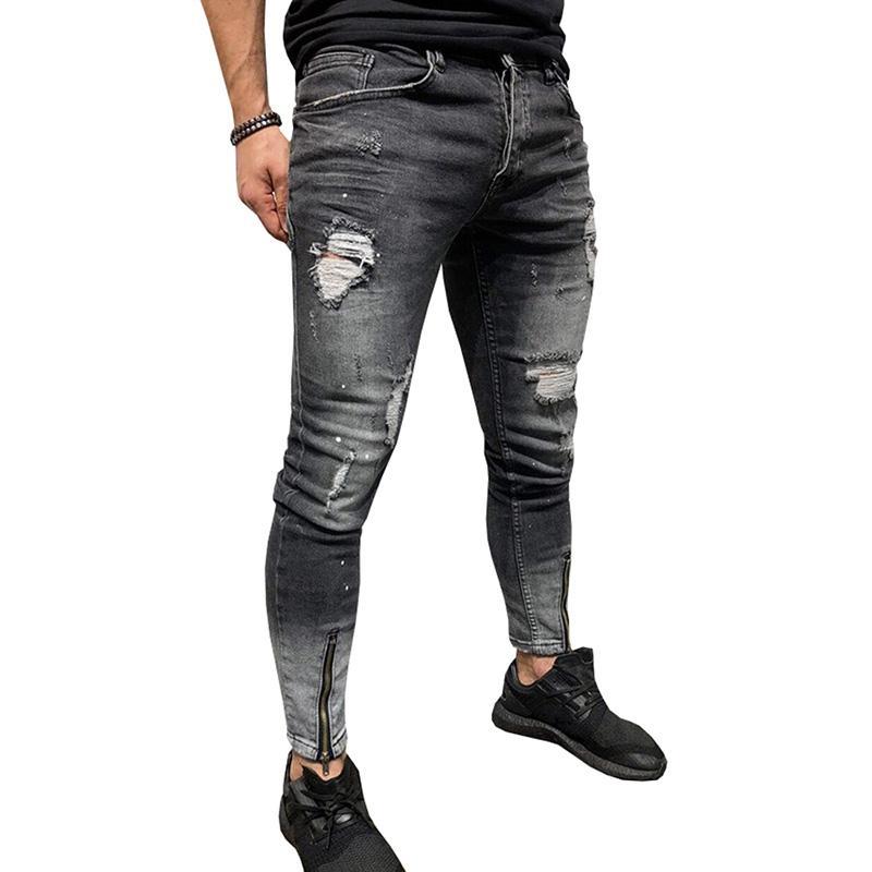 남자 청바지 스트레치 찢어진 디자인 찢어진 디자인 블랙 펜슬 바지 슬림 바이커 바지 구멍 청바지 Streetwear Swag 바지