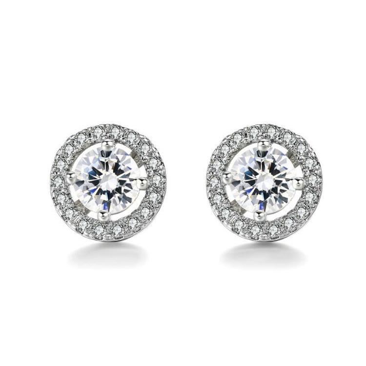 Модные новые 2019 уха шпильки Оптовая круглый имитация Кристалл белого золота покрытием CZ Алмаз серьги для женщин свадебные украшения