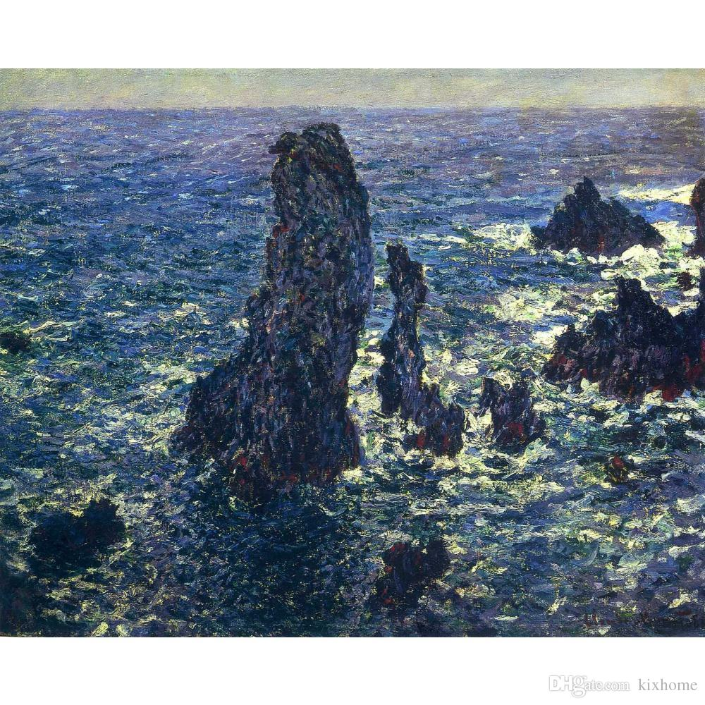 Handmade oil paintings Claude Monet The Pyramids, Cliffs at Belle-Ile canvas art for wall decor High quality