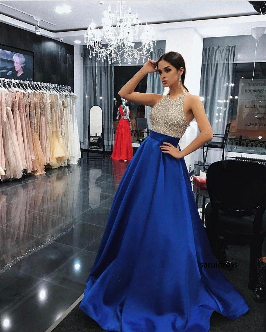 Sexy paillettes di perline di cristallo top senza maniche abiti da ballo glamour Dubai Celebrity Long Evening Dress Charme Royal Blue Prom Dress