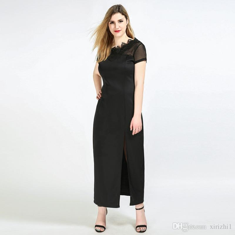 Plus Size Formal Maxi Dresses Black Full Length Side Split Short Sleeve  High Quality Lace Evening Dress For Fat Women Full Length White And Blue ...