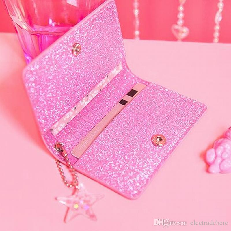 الوردي حامل بطاقة الهوية المرأة حقائب جلدية جواز السفر لطيف الفتيات id سفر جواز سفر حامل الكرتون غطاء جواز سفر بطاقة