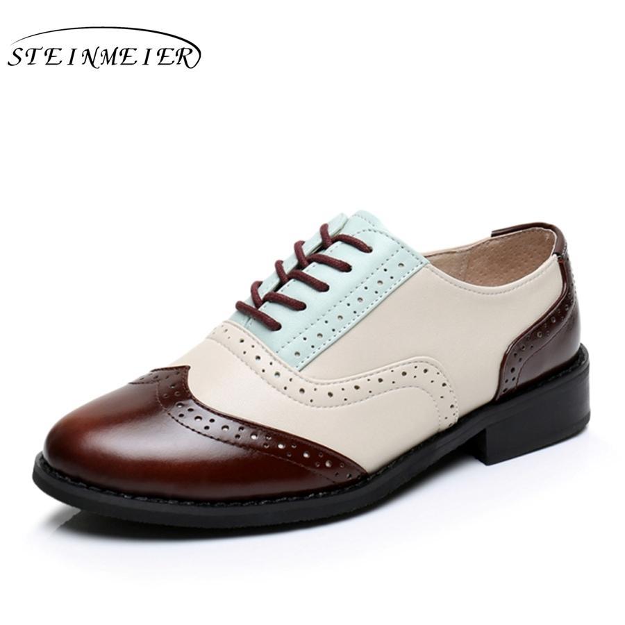 diseño de calidad d4673 12bc7 Compre Cuero Genuino Grande EE. UU. Tamaño 10 Zapatos Vintage De Diseño  Punta Redonda Marrón Beige Hecho A Mano 2017 Zapatos Oxford Para Mujer Con  ...