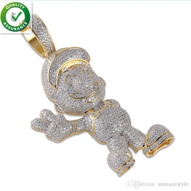 Iced Out Mario Mens Gold Chain Pendant Hip Hop Jewelry Luxury Designer Diamond Necklace Miami Cuban Link Micro Paved Bling CZ Wedding Gift