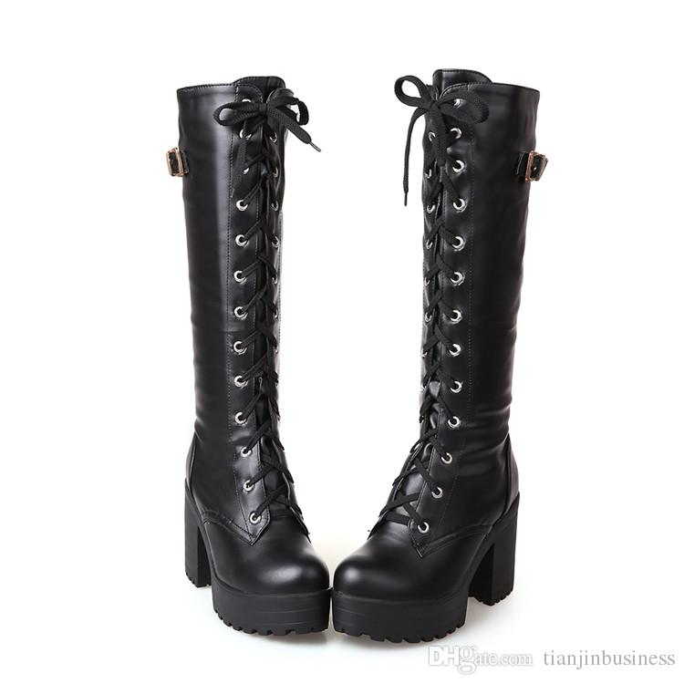 Gothic Square Chunky Block High Heels Riding Boots Women Lace Up Thick Platform Rock Punk Cosplay Knee High Boots Shoes