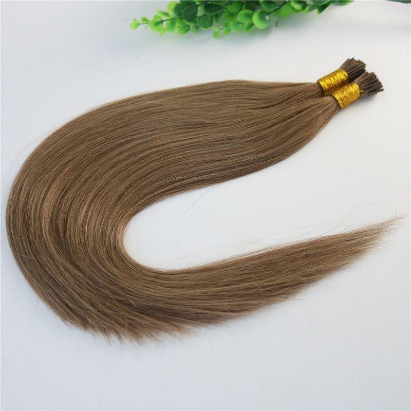 Extensions de cheveux humains de kératine I-tip Ash Brown # 10 Extensions de stick-tip Cheveux humains brésiliens 100Strands 100gram cheveux pré-couverts Droite