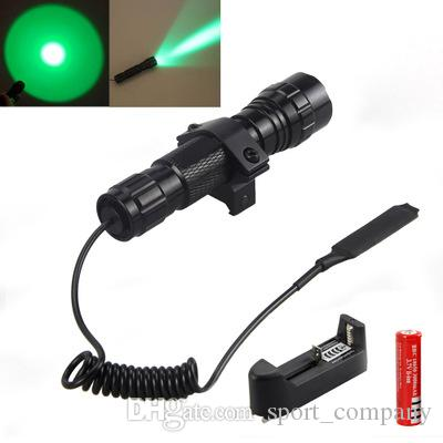 Waterproof 501B Green Light LED Flashlight XP-G2 R5 Coyote Hog Hunting Lamp Tactical Mini Torch Lanterna+Remote Pressure Switch