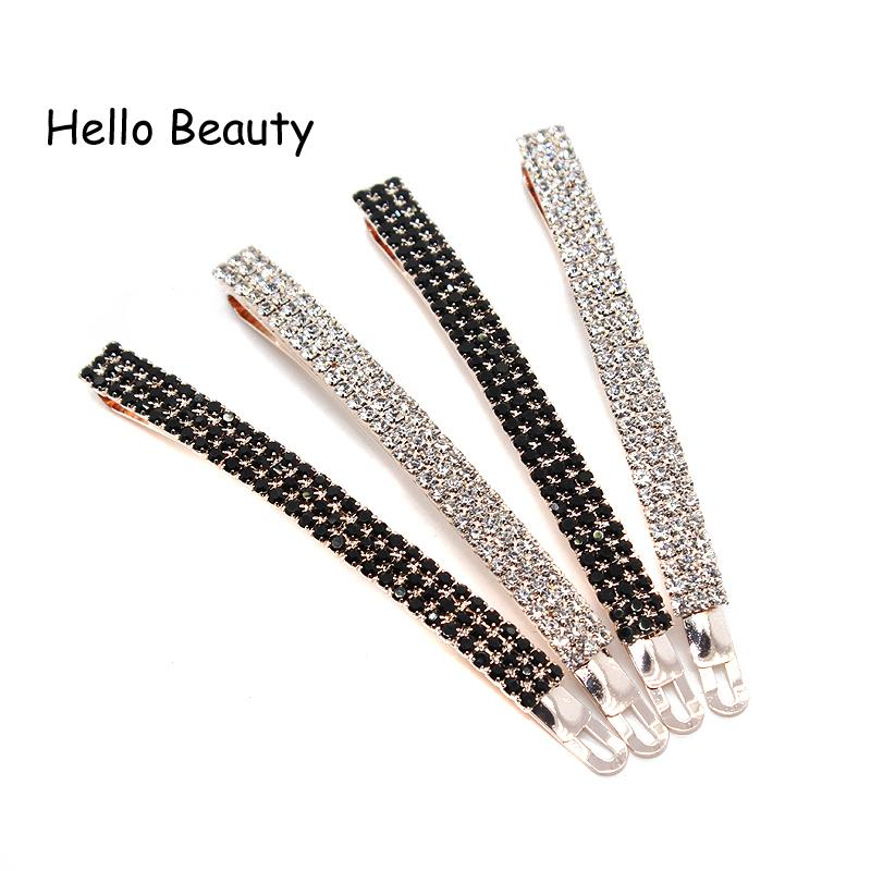1 Pair Korean Fashion Women Trendy Hair Accessories Luxury Clear Full Crystal Hair Clip White Rhinestone Barrette Hairpin S918