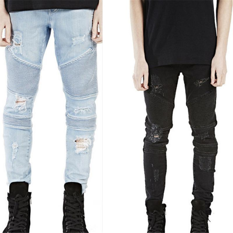 Erkek Denim Jeans Skinny İnce Elastik Kot Pantolon Moda Bisiklet Erkekler Pantolon Katı Giyim Boyutu 28-38 için Delik Siyah Jean Ripped