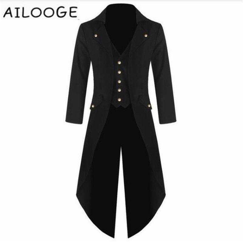 새로운 남성 턱시도 코트 Steampunk 빈티지 Tailcoat 자켓 고딕 Frock 코트 탑 스포츠 용 재킷 의상 Weeding X-Long Outwear