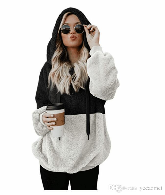 2018 Новая осень и зима мода двухцветная мозаика с капюшоном блузка хит цвет плюшевый свитер бесплатная доставка