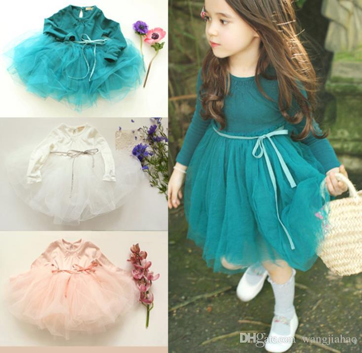 2018 Baby girls lace dress Lace Baby Girl's Lace TuTu Dresses Long Sleeve Dresses Beach Wedding Dresses Party Dress With High Quality