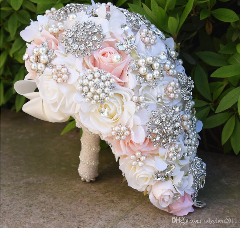 Waterfall Luxury Blush Wedding Bouquet for Brides Teardrop Butterfly Brooch Bouquet Alternative Cascading Bouquets Crystal Wedding Flowers