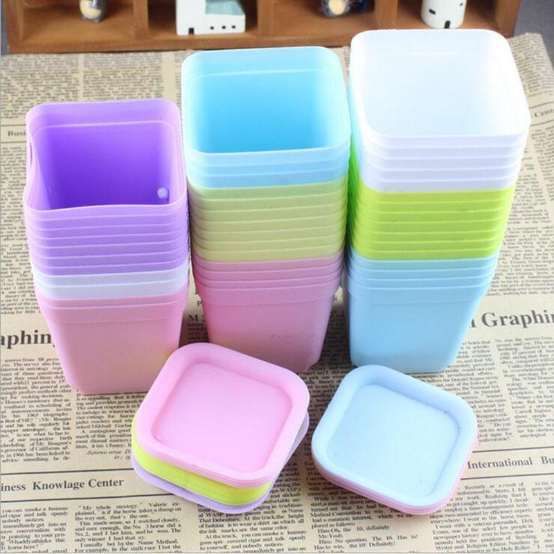 10pcs Color Thick Plastic Flower Pot Colorful Fleshy Flower Pot Nursery Small Square Pot Plant Potted Tools Household Items free shipping