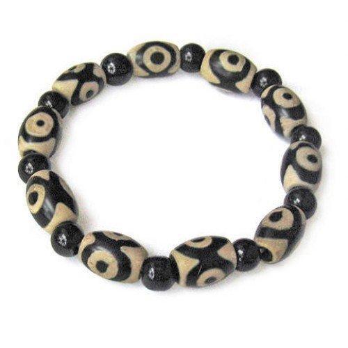 Longo Bonito Stretchy Tibetano Ágata Preta 3-eye dZi Beads Frisado Pulseira Amuleto