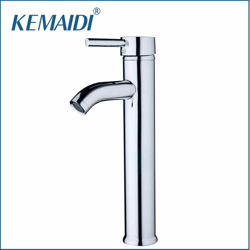 KEMAIDI Slim New Bathroom Glass Deck Mount Slim Tall Basin Sink Polished Chrome Single Handle Vessel Torneira Mixer Tap Faucets