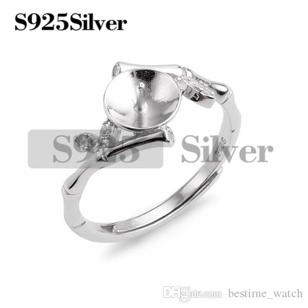 HOPEARL Jewelry Bamboo Joint Ring Findings 925 Sterling Silver Settings Pearl Semi Mount DIY 3 Pieces