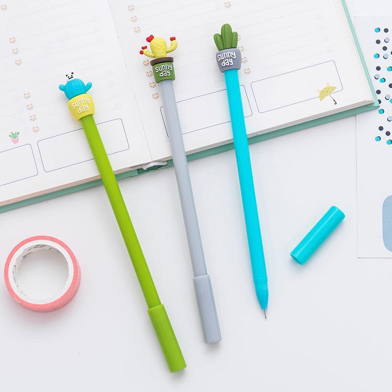 Yaratıcı Sevimli Kaktüs 0.5mm Siyah Mürekkep Jel Kalemler Kawaii Kore Kırtasiye Yazma Ofis Okul Çocuk Kız Malzemeleri