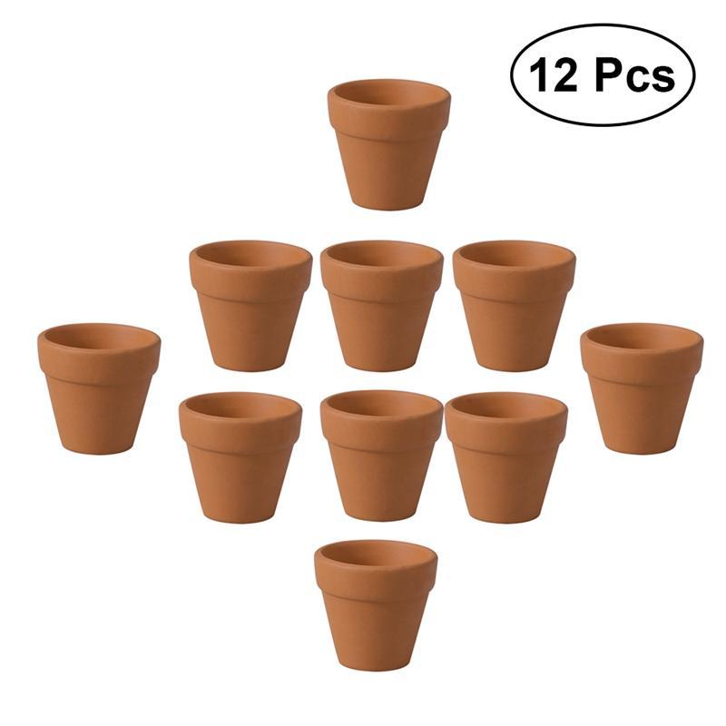 12 Stücke 3x3 cm Kleine Mini Terrakotta Topf Ton Keramik Keramik Pflanzgefäß Kaktus Blumentöpfe Sukkulenten Kindergarten Töpfe für Pflanzen kostenloser versand